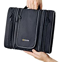 Travel Toiletry Bag - Hanging Cosmetic Organizer for Men | Makeup Bag for Women | Large Portable Bathroom Accessories Kit | Multifunction Waterproof Case | Zippered Compartments, Pouches, Mesh Pockets