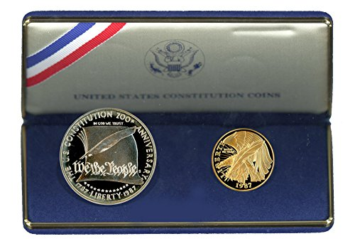1987 Constitution 2 Coin Commemorative Silver & Gold Set $1/$5 Proof