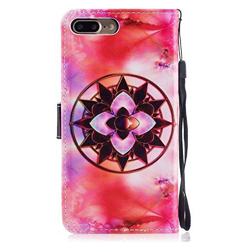 iPhone 8 Plus Coque,Fleurs uniques Portefeuille Fermoir Magnétique Supporter Flip Téléphone Protection Housse Case Étui Pour Apple iPhone 8 Plus + Deux cadeau