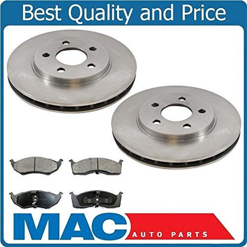 Mac Auto Parts 16846 96-00 Caravan 14 Inch Rims With 10 Inch Front Disc Brake Rotor & Ceramic Pads (Front Inch Rotor 10)