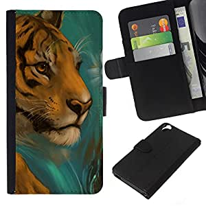 All Phone Most Case / Oferta Especial Cáscara Funda de cuero Monedero Cubierta de proteccion Caso / Wallet Case for HTC Desire 820 // Tiger Drawing Paintin Watercolor Cat Face