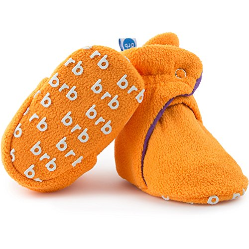 Fleece Baby Booties - Organic Cotton & Gripper Bottoms, Cozy Boys & Girls Bootie (US 5.5, Passionfruit) -