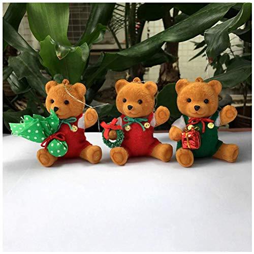 3pcs/lot cute plush dolls bear Christmas Tree decorations new year Hanging Ornament navidad Santa Claus bear toys gifts