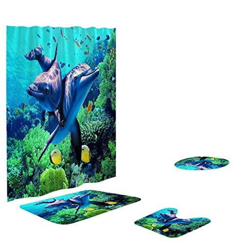 Honestyivan Bathroom Blue Underwater World Coral Fish Print Non-Slip Toilet Lid Cover Pedestal Rug Bath Mat Shower Curtain Set Home Decor Bathroom Essentials 4PCS