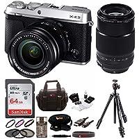 Fujifilm X-E3 Mirrorless Camera w/ XF18-55mm & 80mm F2.8 R LM OIS WR Lens Focus Premium Kit