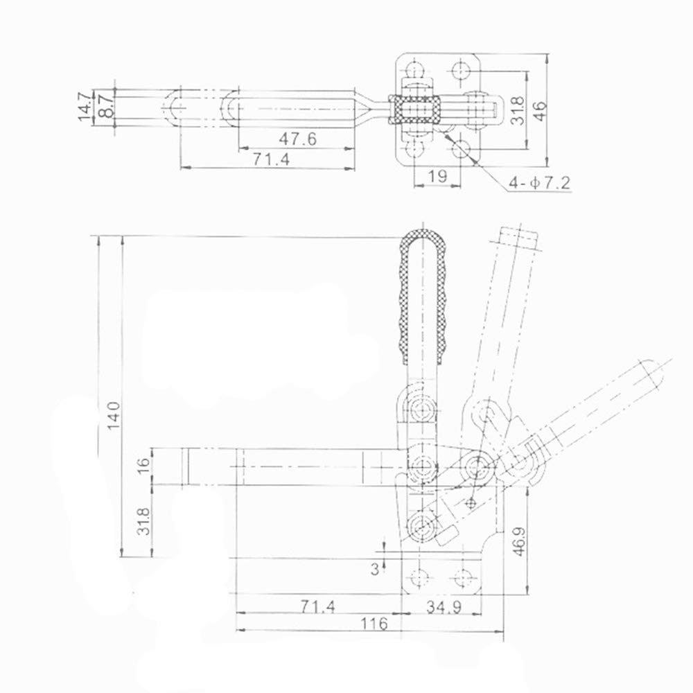 MINGZE 2 pezzi Toggle Clamp GH-12130 500Lbs di capacit/à Tenere Strumento capacit/à antiscivolo rosso strumento mano a sgancio rapido verticale toggle morsetto 227 kg