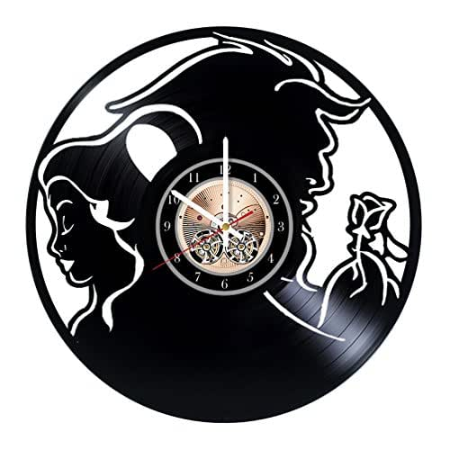 Beauty And The Beast Unique Couple Tattoos: Amazon.com: Beauty And The Beast Vinyl Record Wall Clock