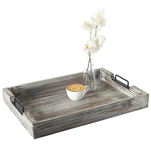 Distressed Torched Wood 20-Inch Serving Tray with Modern Black Metal Handles]()