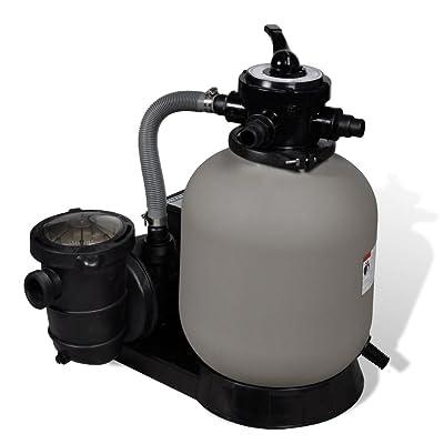 Lingjiushopping Filtre ¨¤ sable avec pompe de piscine et Diam¨¨tre de filtre : 35 cm Vitesse de filtration : 18000L/heure