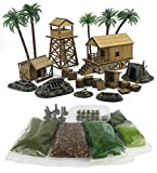 WWG Jungle Warfare Kit?5?-?MDF & Resin Military Camp?Full Set with Scenery - 28mm/Heroic Scale Wargaming Terrain?