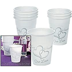 Lot of 50 Plastic Disposable Two Hearts Wedding Cups 16oz