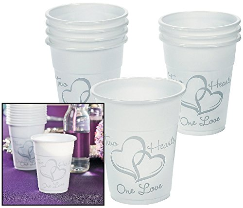 Lot of 50 Plastic Disposable Two Hearts Wedding Cups -