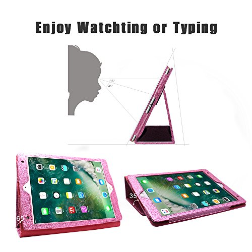 2018 NEW iPad/iPad Air/Air2/Pro 9.7 Glitter Case,FANSONG Bling Sparkle PU Leather Smart Cover [Flip Stand Function] [Auto Sleep/Wake] Universal Case for Apple iPad Air/Air2/Pro 9.7 (Bling Pink) by FANSONG (Image #3)