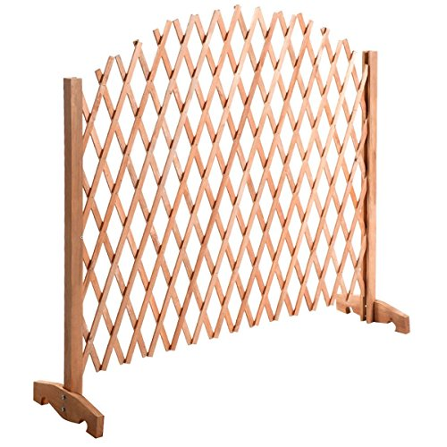 Giantex Expanding Portable Fence Wooden Screen Dog Gate Pet Safety Kid Patio Garden Lawn (Patio Gates Fences)