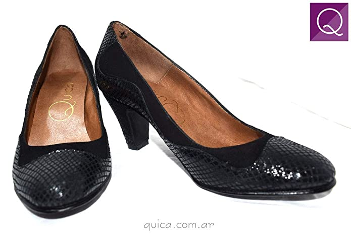 Amazon.com | Quica Zapato Vestir Taco 6 1/2 Gamuza Ondas Shoes Dress Black | Pumps