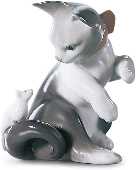 LLADR Cat and Mouse Figurine. Porcelain Cat Figure.