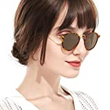 Round Polarized Sunglasses Vintage for Women Driving Retro Circle Lens with 100% UV Protection(Tortoiseshe Round Frame/Brown Lens)