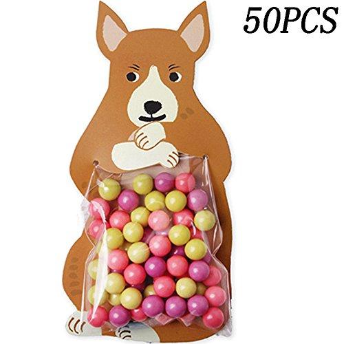 50PCS Cute Cartoon Animals Food Creative Cards Bags Baking D