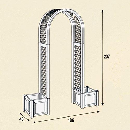 KHW Rosenbogen mit Pflanzkästen, grau, 43x174x207 cm, 37602
