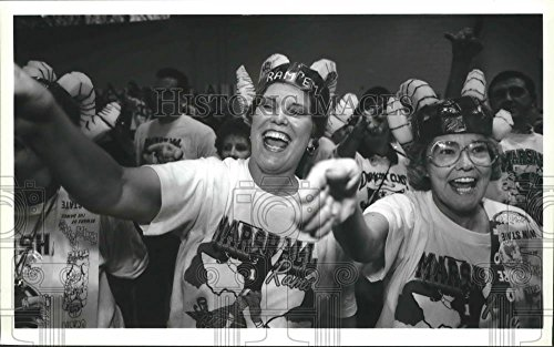 (Historic Images 1991 Press Photo Marshall High School staffers cheer at a football pep rally - 6 x 9.75 in)