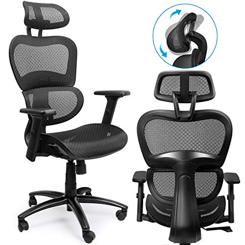 Pressed Back Chair (High-Back Mesh Office Chair – Adjustable Lumbar Support and Headrest - Flexible Inclining and Lifting Lever - Desk Chairs for Office Room Decor)