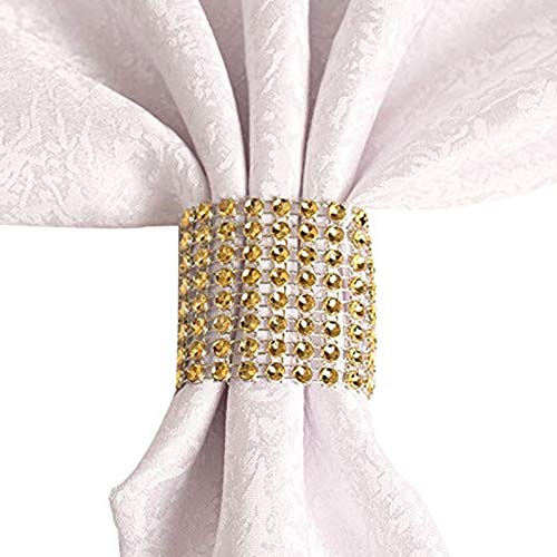 Gold (50s) - Rhinestone Napkin Rings Wedding Adornment Holder Banquet Birthday Gold 50pcs - Diamond Rings Crystal Iron Royal Orchid Heart Cone India Names Pearl Dogs Matte Nautical Reception]()