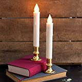 Flameless Taper Window Candles with Gold Removable