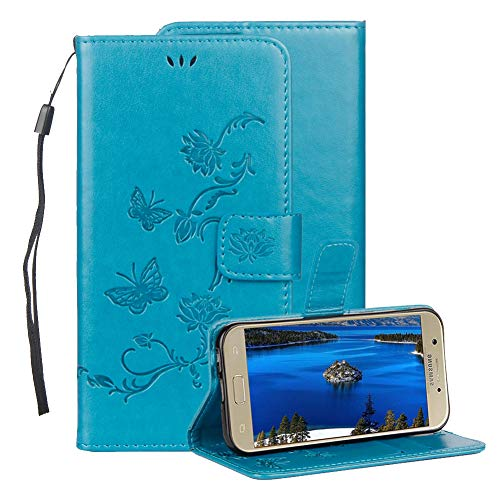 (Embossed Leather Case for Samsung Galaxy J3 2018,Aearl Samsung Galaxy J3 2018 Embossed Butterfly Flower PU Leather Wallet Soft TPU Flip Cover Magnetic Card Slot Holder with Detachable Hand Strap-Blue)