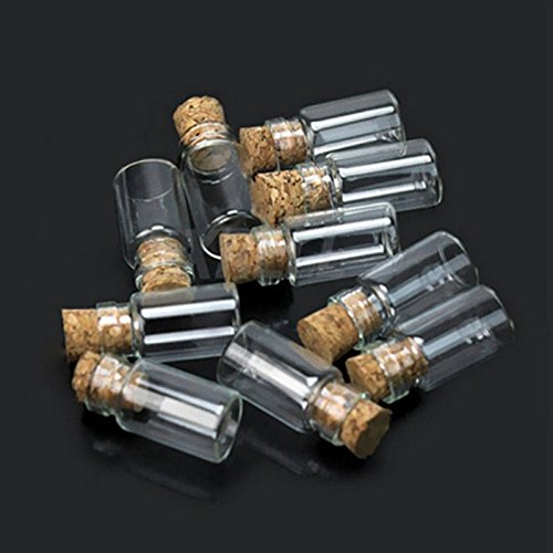 Generic 1 : 10pcs Lovely Small Wish Bottle Tiny Clear Empty Wishing Glass Message Vial With Cork Stopper 1ml Mini Containers Bottle MS193 Price & Reviews