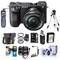 Sony Alpha a6500 Mirrorless Digital Camera with 16-50mm f/3.5-5.6 OSS Zoom Lens - Bundle with 32GB SDHC U3 Card, Holster Case, Spare Battery, Tripod, Remote Shutter Trigger, Software Package and More