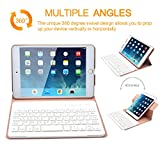 iPad Mini 4 Keyboard, COO iPad Mini 4 Case with Builtin Removable Bluetooth Keyboard for Apple iPad Mini 4 (Model A1538/A1550) with 360 Degree Rotation and Multi-Angle Stand (Champagne)