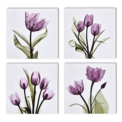 (wenmer 4 Panel Elegant Tulip Purple Flower Canvas Print Wall Art Grace Floral Giclee Pictures Paintings for Living Room Giclee Modern Home Decorations Photo Prints 12x12inch)