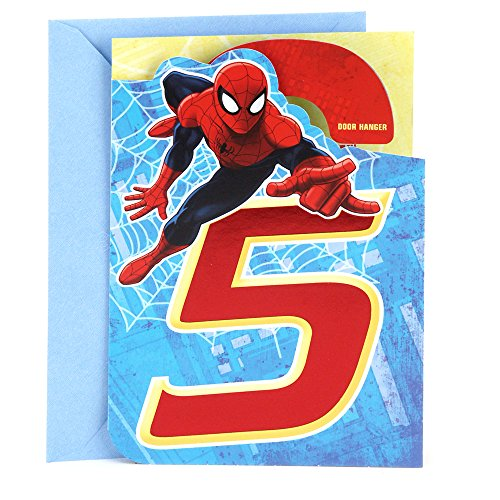 5th Birthday Card - Hallmark 5th Birthday Card (Spider-Man Door Hanger)