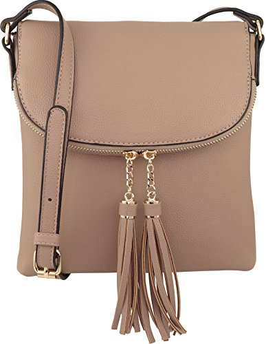 B BRENTANO Vegan Medium Flap-Over Crossbody Handbag with Tassel Accents (Nude)
