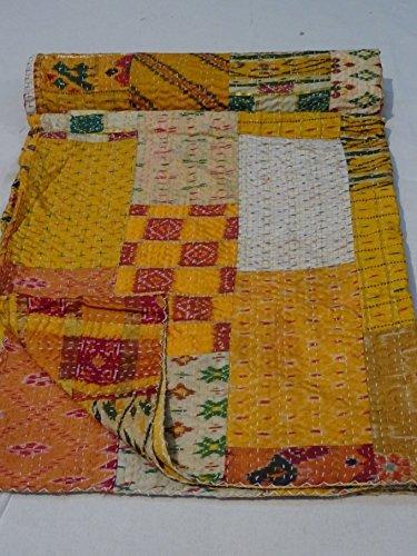 - Tribal Asian Textiles Patola Silk Patch Work Kantha Quilt, Kantha Blanket Bedspread, Patch Kantha Throw, King Kantha, Kantha Rallies Indian Sari Quilt, Size 90