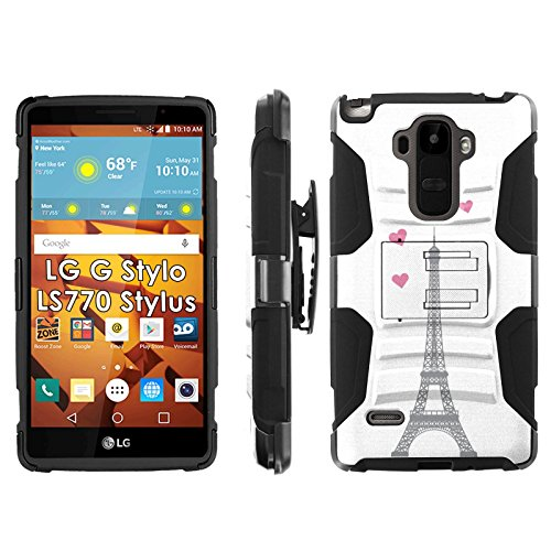 LG G Stylo LS770 H631 Phone Cover, Eiffel Tower Hearts- Blitz Hybrid Armor Phone Case for [LG G Stylo LS770 H631] with [Kickstand and Holster] by Mobiflare