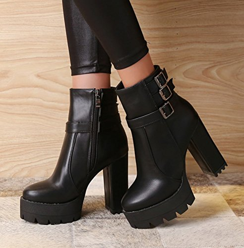 High Aisun Platform Zipper Side Strap Buckle Shoes Black Round Booties Heel Toe Fashion Womens Stacked xqrwBxaUv