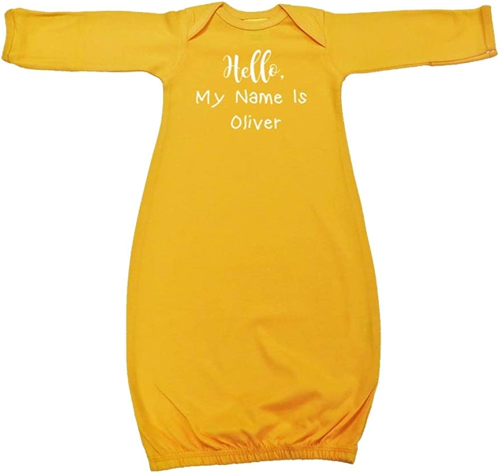 Hello My Name is Oliver Personalized Name Baby Cotton Sleeper Gown