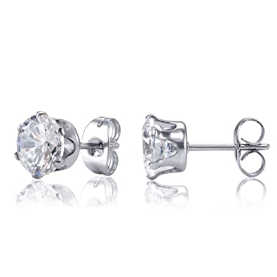 Women's Stainless Steel Round Clear Cubic Zirconia Stud Earring