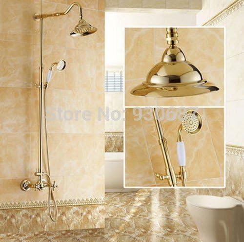 "CHUNSHENN 蛇口美の黄金メッキ8"" のミキサーのタップ、黄色をマウントスライドバー壁とヘッド浴室のシャワーの蛇口シャワー バス用品"