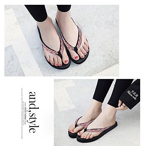 Flops Qleyo Flip Red Summer Sandals Proof Womens Flip Skid Comfort Slippers Beach wwnEgOqAr