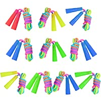 Elcoho Rainbow Jump Rope Set Kids Jumping Ropes Skipping Ropes for Outdoor Fun, Party Favors, 7.2 Feet