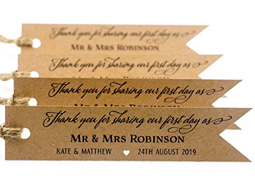 Summer-Ray 50 Personalized Kraft Pennant Flag Wedding Favor Gift Tags - Thank You for Sharing Our First Day as Mr & - Brown Ray Summer