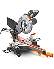 【Deal for Father's Day】TACKLIFE Mitre Saw, 1500W 4500RPM Sliding Mitre Saw with 24T 210mm Blade, 200mm Extension Bars, Cutting Angle 0-45°, Powerful Performance +45°/-45°Versatility, Cut Wood, Plastic