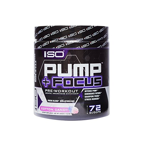 ISO PUMP+FOCUSTM NON-STIMULANT PRE WORKOUT - Energy Boost + Insane Focus + Enhanced Muscular Recovery + Improved Mental Functioning + No Crashing or Jitters, Cotton Candy, 72 Servings, 334.8G/11.8oz