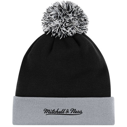 NFL Mitchell & Ness Oakland Raiders Throwback Arch and Logo Cuffed Knit Hat - Silver/Black by Mitchell & Ness (Image #1)