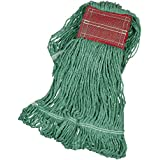 AmazonBasics Loop-End Synthetic Mop Head, 5-Inch Headband, Medium, Green - 6-Pack