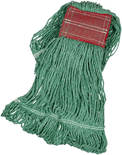 AmazonBasics Loop-End Synthetic Commercial String Mop Head, 5 Inch Headband, Medium, Green, - Commercial Mop Cotton
