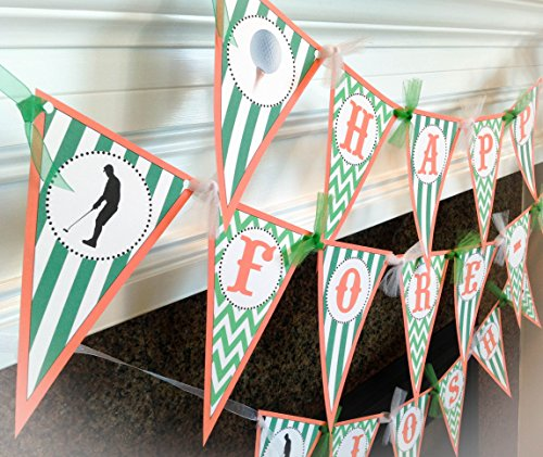 Happy Fore Tee - 40th Birthday Pennant Banner - Green Stripes & Chevrons with Orange Accents - Party Packs Available -