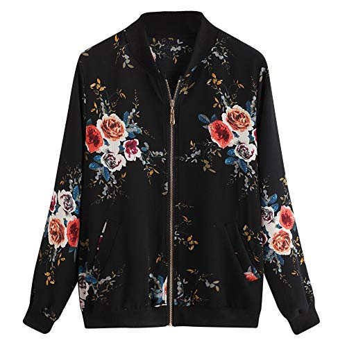HYIRI Zipper Up Bomber Jacket Casual Coat,Womens Retro Floral Printing Outwear